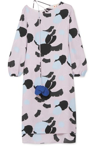 Marni Printed Crepe De Chine Dress Lilac BcIpGdV