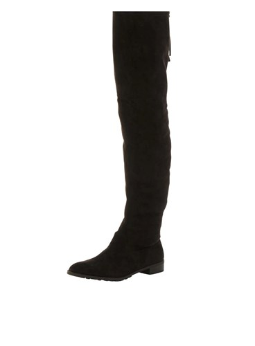 Dorothy Perkins London Rebel Suede Effect Thigh High Boots Black 48VTqd5O3