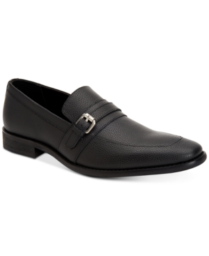 Calvin Klein Reyes Tumbled Leather Loafers Shoes Black nZRdj