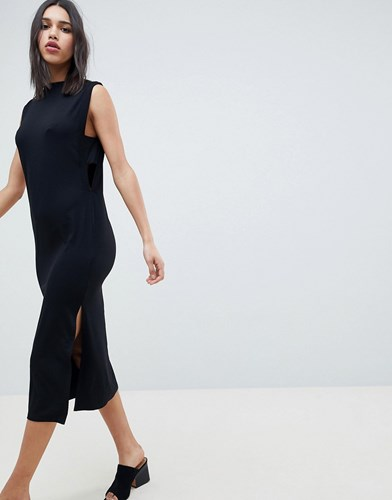 Asos Design Column Midi Dress With Ribbed Tab Sides Black wqCFKv
