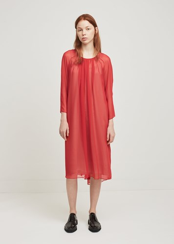 Lutz Huelle Sheer Chiffon Overdress Red wIh3wLQIt