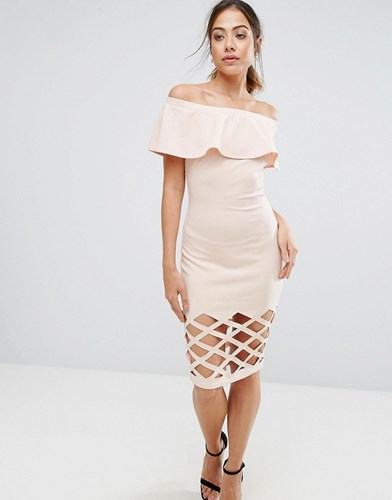 AX Paris Pink Frill Bardot Bodycon With Cut Out Detail Dress d24wpPMS2