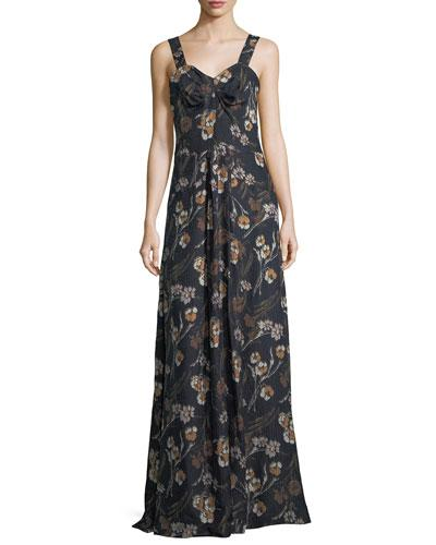 Derek Lam Floral Print Sleeveless Maxi Dress Dark Blue c6phiMplb
