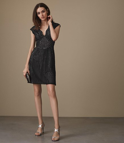Reiss Marianna Structured Lace Fit And Flare Dress In Black b67Ky