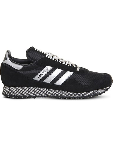 adidas New York Mesh And Nubuck Trainers Black Silver White sCl60ZR