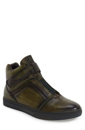 Jump Men's 'Scully' High Top Sneaker Olive Leather ESzUUXWRH