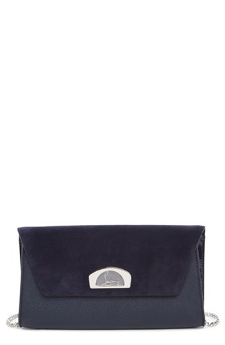 Christian Louboutin Vero Dodat Velour Suede And Leather Clutch Blue Marine Marine Y9vir
