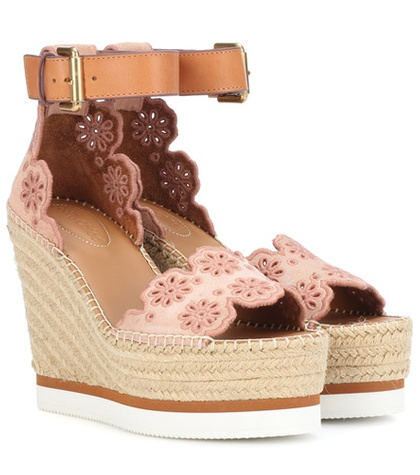 See by Chloe Suede Wedge Sandals Pink MPRcR23lxG