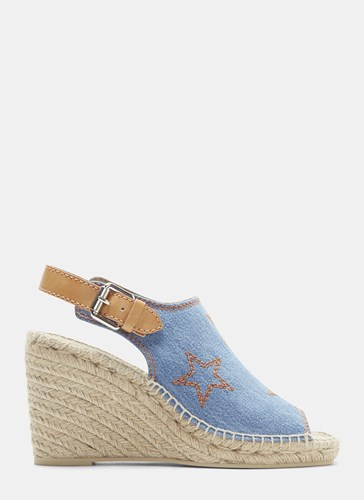 Stella McCartney Star Embroidered Slingback Espadrille Wedges