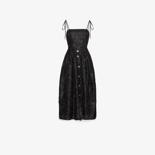 Rejina Pyo Issy Fringe Dress With Thin Straps Black Aop8DwejA1