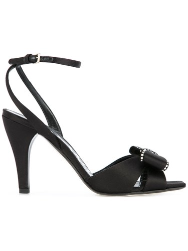 Loewe Bow Detail Sandals Silk Calf Leather Goat Skin Viscose Black 9bOC1r