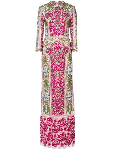 Purple Marchesa Notte Pink Embroidered And Floral Dress q06pf