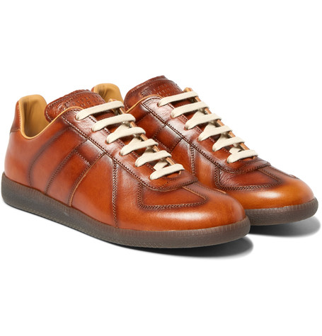 Replica Panelled Burnished Leather Sneakers Tan