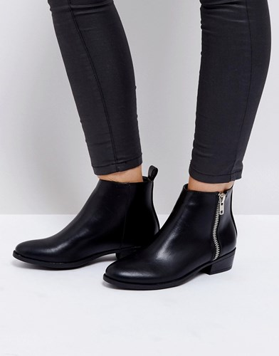 Truffle Collection Low Side Zip Boots Black Pu aO072Wjc