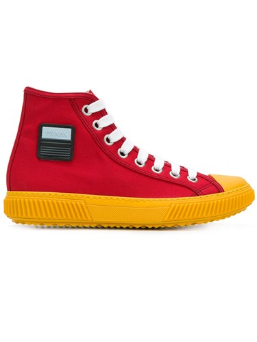 Prada Hi Top Logo Sneakers Red Dg6FOjP2vH