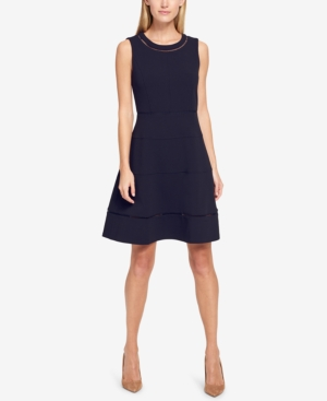 Tommy Hilfiger Scuba Crepe Fit And Flare Dress Navy W3k9BkLQz