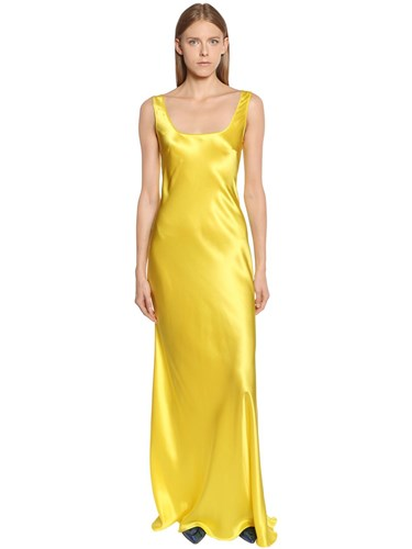 Alberta Ferretti Silk Satin Long Dress Yellow dRJbBfgt