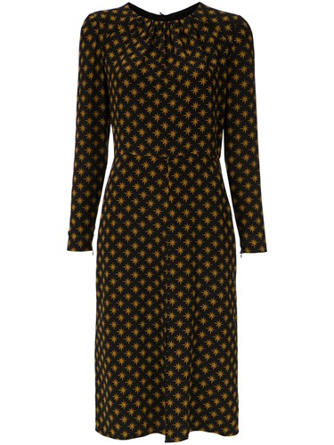 Dress Andrea Marques Printed Longsleeved Brown wrptrPfq