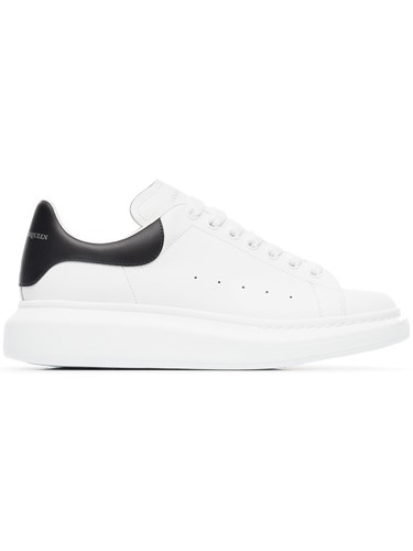 Alexander McQueen Black Oversized Leather Sneakers White 9CBCG2r7B