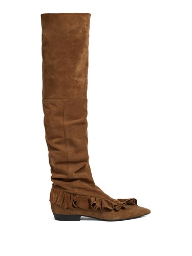Over The Suede J W Brown Slouched Anderson Boots Ruffled Knee Fq77XSYwx