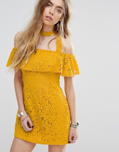 MinkPink Beauty And The Beast Bardot Frill Dress With Choker Strap Detail In Lace Yellow gDl5InBg1