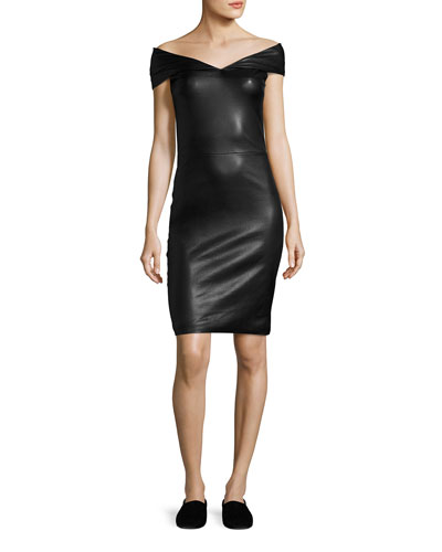 The Row Pierre Off Shoulder Leather Minidress Black CigkCRs