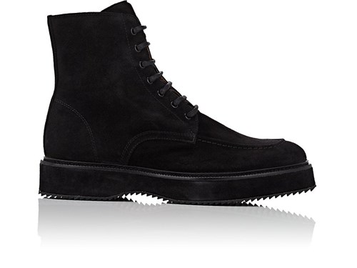 Barneys New York Oiled Suede Side Zip Boots Black Mhxd1fAvoQ