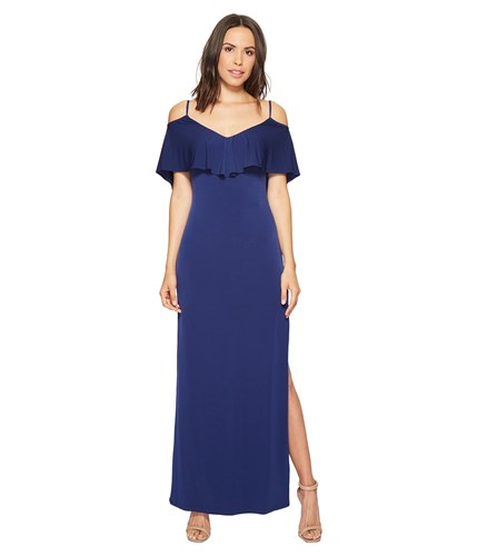 Laundry by Shelli Segal Cold Shoulder Flutter Popover Jersey Gown With Open Back Midnight Dress Navy c0T4ZEh