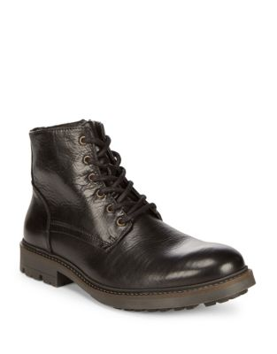Black Brown Leather Work Boot Cognac qPGLB
