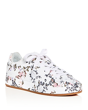 Lace Platform Floral Rag Leather Floral Sneakers Women's Garden Bone and Print Up P8YPqw