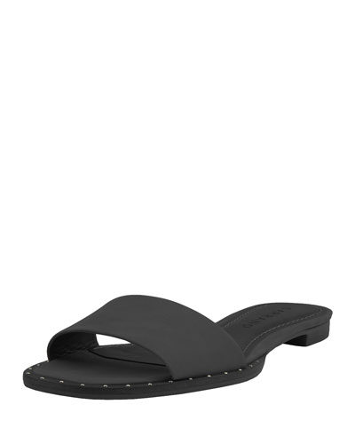 Flat Sandal Belle Black Studded Leather Carrano qORxwUpaz