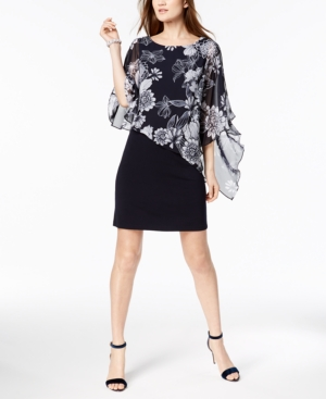 Connected Printed Cold Shoulder Cape Dress Regular And Petite Sizes Navy Z0XOEZ9B