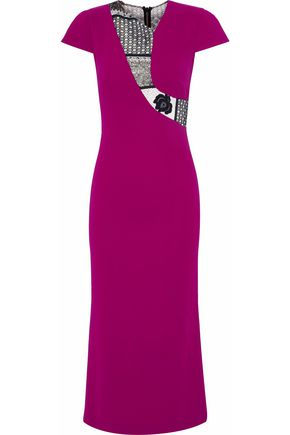 Roland Mouret Lace Paneled Crepe Midi Dress Violet s1ijnXs8L4