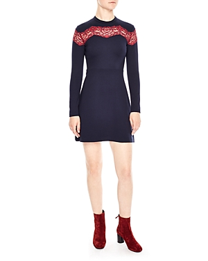 Flare Fit Inset Navy And Blue Lace Dress Sandro gwf8zaq8