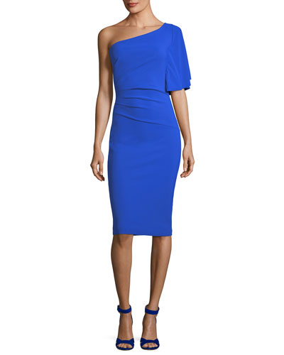 La Petite Robe di Chiara Boni Romy Asymmetric One Shoulder Cocktail Sheath Dress Blue Klein 9XnHdEjB