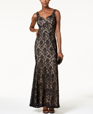 Betsy & Adam Lace Mermaid Gown Black Nude ZC7IZgY5