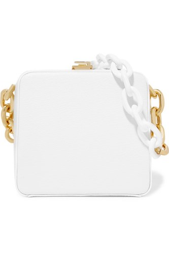THE VOLON Cube Textured Leather Shoulder Bag White 2o7pH4p