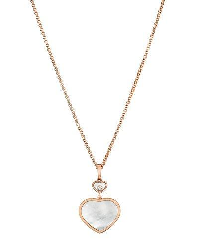 Chopard 18kt rose gold Happy Hearts mother-of-pearl and diamond sautoir necklace - Unavailable x8fmEW9THv