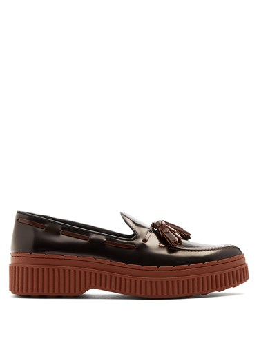 Tod's Spazzolato Leather Loafers Black Brown AHQkn8CQhV