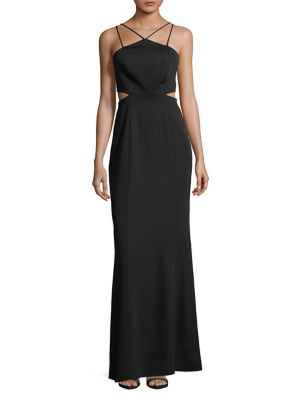 Laundry by Shelli Segal Strappy Sheath Gown Hibiscus t7aGn