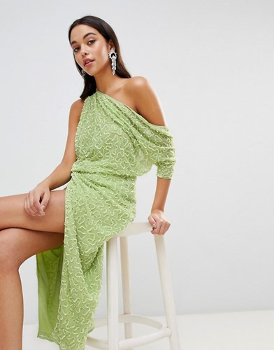 ASOS Edition One Shoulder All Over Sequin Midi Dress Lime Green gesjvc