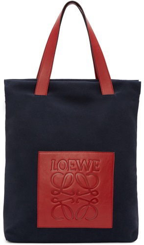 Navy Suede Colorblock Tote