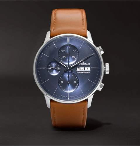 Meister Telemeter Chronoscope Stainless Steel And Leather Watch