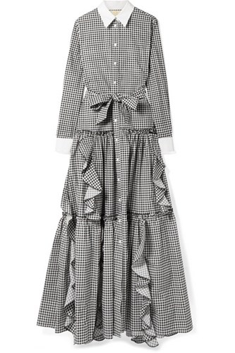 Sara Battaglia Ruffled Gingham Cotton Poplin Maxi Dress Black Gbp 4KCfkJYdDb