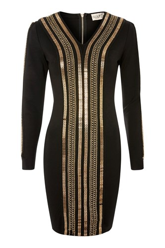Club L V Neck Chain Detail Bodycon Dress By Black JOy7yu