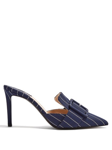 Altuzarra Izy Point Toe Pinstriped Mules Navy Multi RlQL3f5vzV