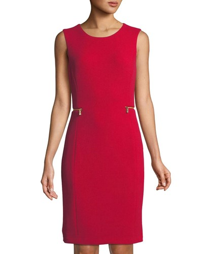 Red Dash Dress Side Designer American Zip Jacquard Iconic Sheath zxSgOwqE8