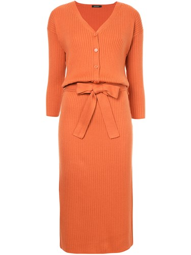 Loveless Knitted Tie Waist Midi Dress Yellow And Orange 14vc1bAEa