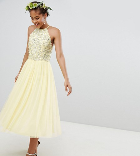 Maya Tall Halterneck Delicate Sequin Detail Tulle Midi Dress Yellow lN2zrNC