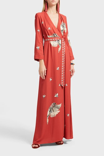 Vilshenko Claudine Bird Print Wrap Dress Red 7ObIxl